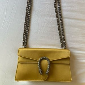 Yellow Satin Gucci Dionysus Bag in Small